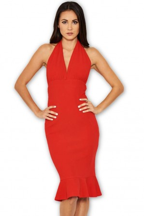 Women's Red Backless Fishtail Midi Dress