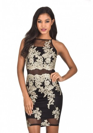 Women's Back and Gold Mesh Embroidered Dress