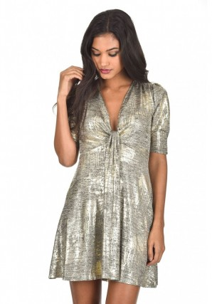 Womens Gold Sparkly Knot Dress