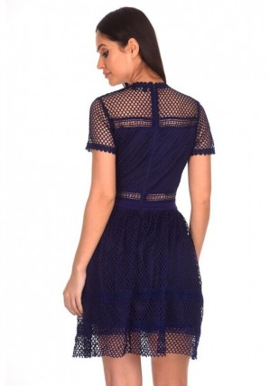 Women's Navy Crochet Short Sleeved Dress