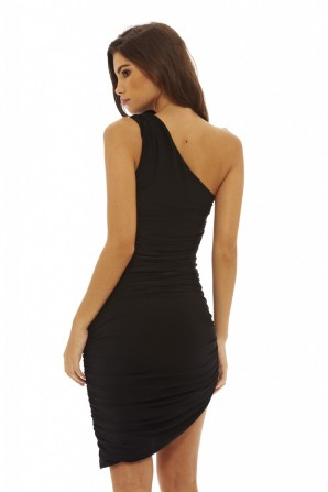 Women's Asymmetric Bodycon  Black Dress