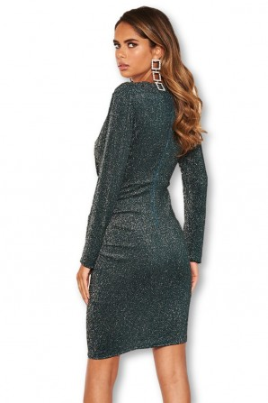 Women's Teal Sparkle Ruched Bodycon Wrap Dress