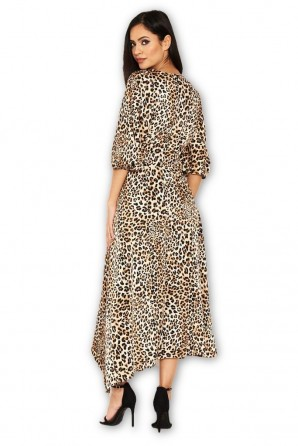 Women's Animal Printed Midi Dress With Tie Waist