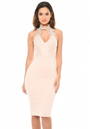 Women's Blush Halterneck Choker Dress With Lace Detail