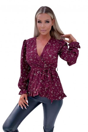 Women's Wine Floral Frill Wrap Top