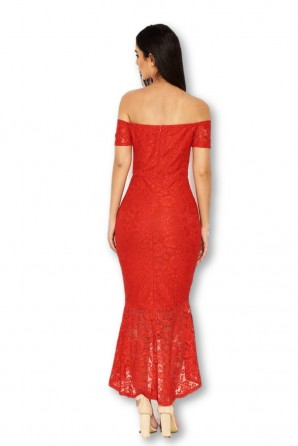 Women's Red Lace Notch Front Detail Midi Dress