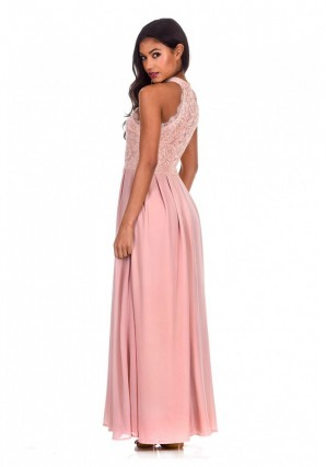 Women's Nude Lace Detail Maxi Dress