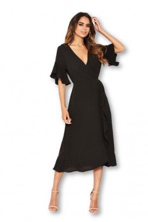 Women's Black Midi Dress With Frill Hem And Sleeves