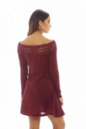 Women's Crochet Off Shoulder Sweater   Wine Dress