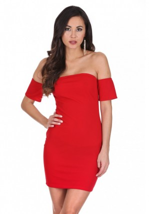 Women's Red Off The Shoulder Mini Dress