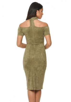Women's Khaki Off The Shoulder Choker Dress With Capped Sleeves