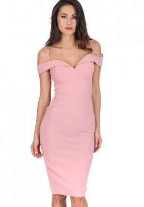 Women's Blush Off The Shoulder Bodycon Dress