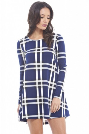 Women's Long Sleeves Check Print Swing Navy Dress