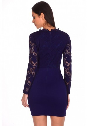 Women's Navy Tassel Embroidered Lace Dress