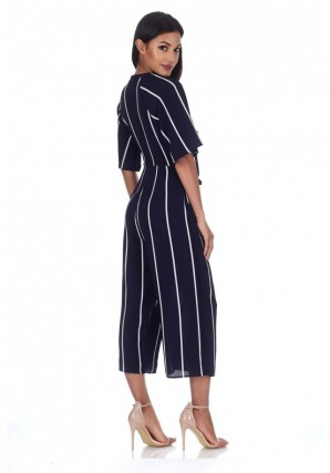 Women's Navy Tie Front Striped Jumpsuit