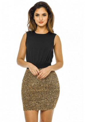 Women's 2 in 1 Gold Sequin Skirt  Black Gold Dress