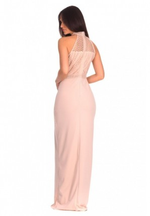 Women's Nude Crochet Top High Neck Maxi Dress