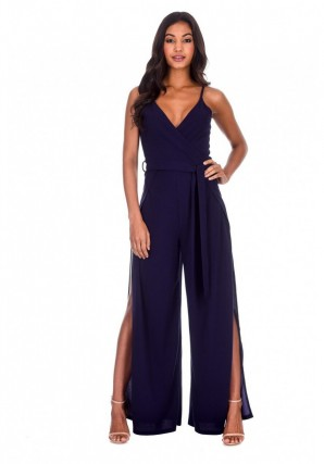 Women's Navy Wide Leg Thigh Split Jumpsuit