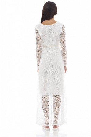 Women's Lace Long Sleeved Maxicream Dress
