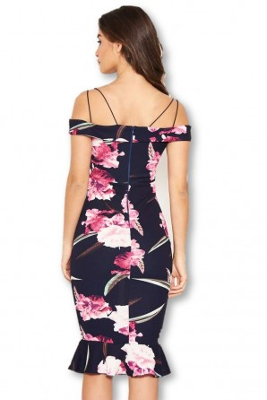 Women's Navy Floral Midi Dress With Delicate Straps