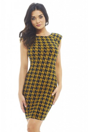 Funky Dogtooth Printed Mustard Bodycon