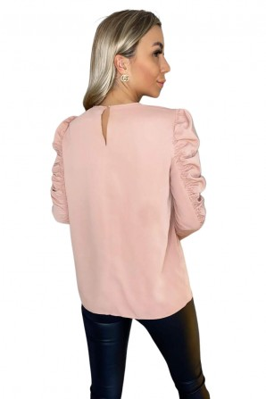 Women's Nude Ruched Sleeve Top