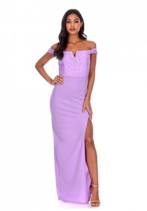 Women's Lilac Notch Front Off The Shoulder Maxi dress