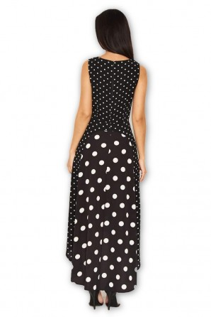 Women's Black Polka Dot Asymmetric Dress