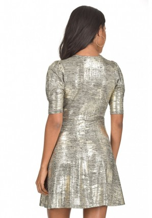 Women's Gold Sparkly Knot Dress