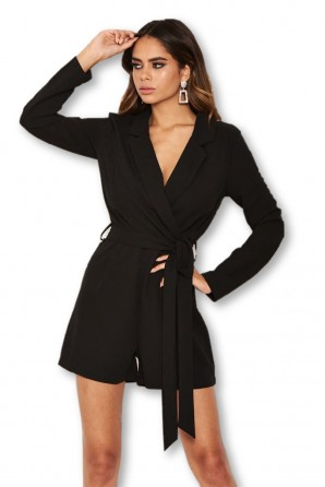 Women's Black Blazer Romper