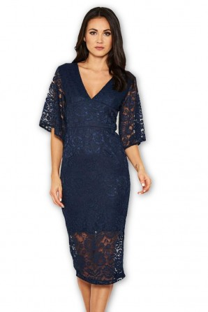Women's Navy Bell Sleeve Lace Dress