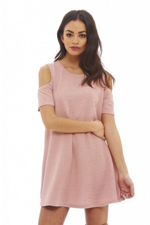 Women's Cut Out Shoulder Swing  Blush Dress