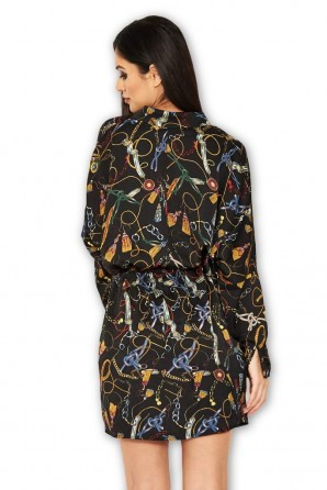 Women's Black Chain Print Bat Wing Dress