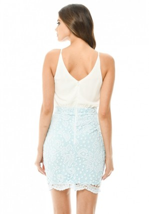 Women's Blue 2 in 1 Crochet Skirt Mini Dress