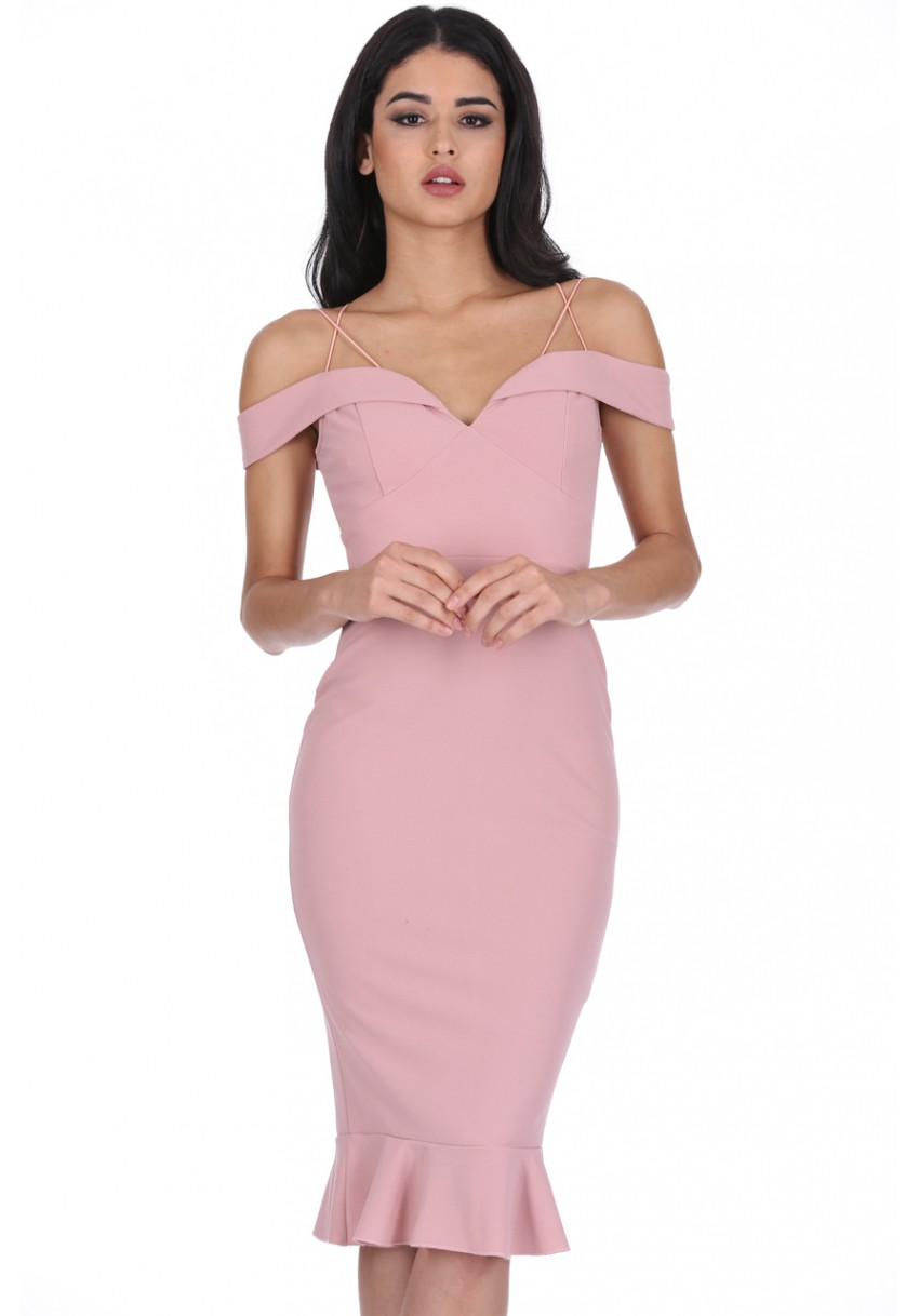 631fa50491327 Women s Blush Off The Shoulder Strappy Fishtail Dress - AX Paris USA ...