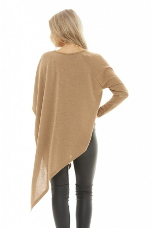 Women's Asymmetric Knitted  Camel Top