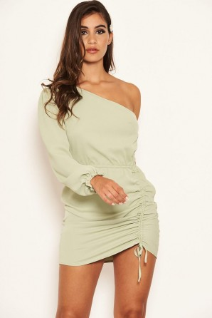 Women's Sage One Shoulder Dress With Side Ruched Tie Detail