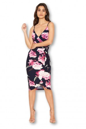 Women's Navy Floral Button Wrap Dress
