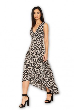 Women's Leopard Print Frill Midi Dress