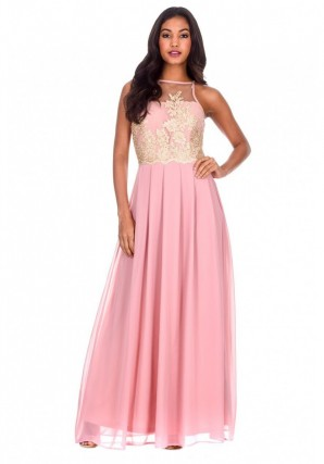 Women's Pink Gold Embroidered Maxi Dress