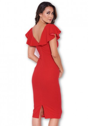 Women's Red Bow Front Midi Dress