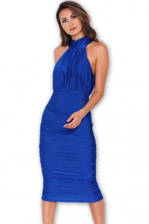 Women's Blue Ruched Halterneck Slinky Bodycon Dress