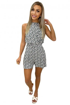 Women's Floral Daisy Print High Neck Romper
