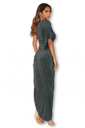 Women's One Shoulder Sparkle Teal Maxi Dress