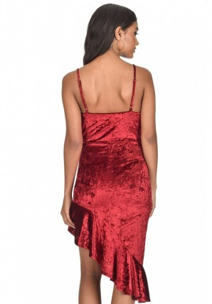 Women's Red Crushed Velvet Bottom Frill dress
