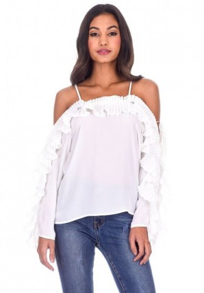 Women's White Frill Detail Off The Shoulder Top