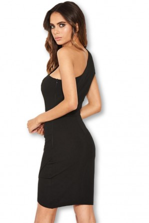 Women's Black One Shoulder Mini Dress With Ruched Detail