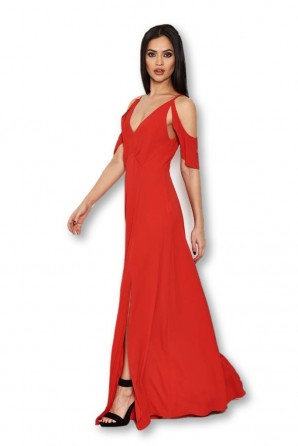 Women's Red Cut Out Shoulder Maxi Dress
