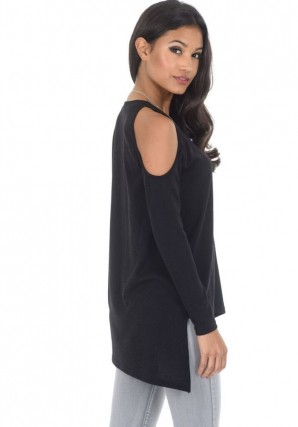 Women's Black Cold Shoulder asymmetric Sweater