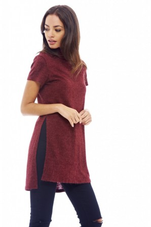 Women's Knitted Polo Neck Wine Sweater